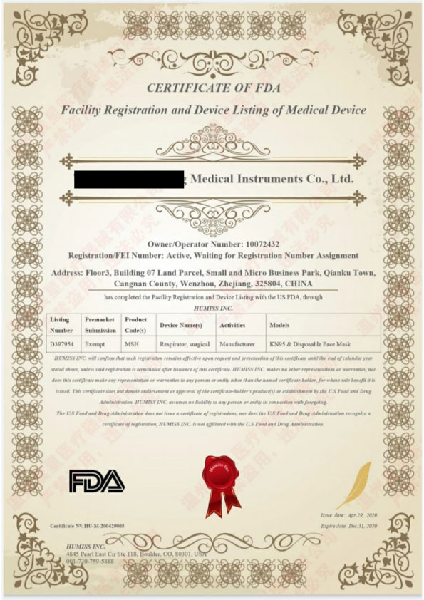 Manufacturer-FDA-Certificate front page