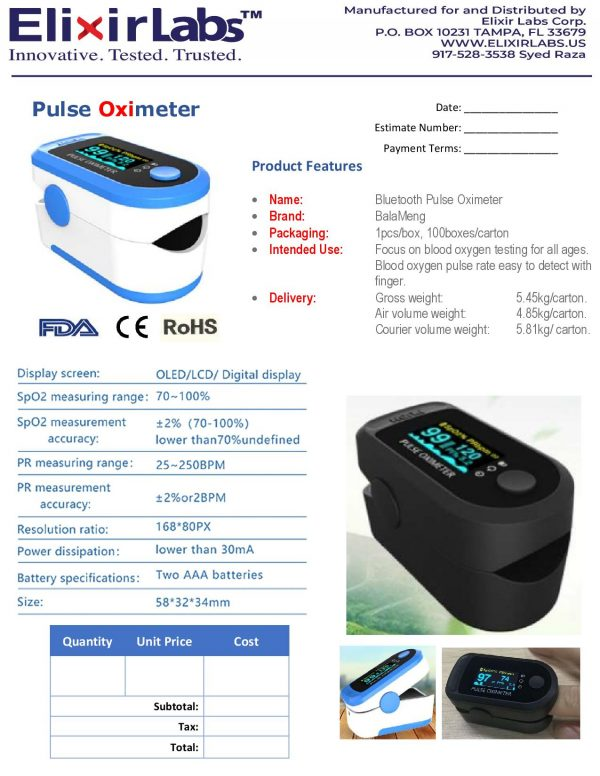 Oximeter Invoice with product description and elixirlabs logo